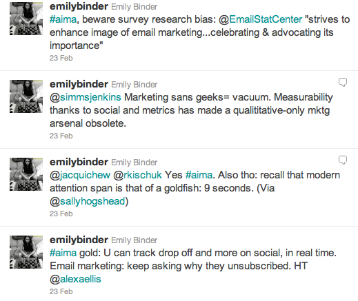 AiMA Atlanta Interactive Marketing Association Email #aima twitter emilybinder