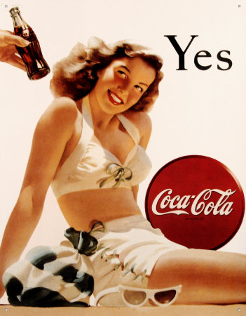 vintage Coca Cola ad poster Yes beach girl