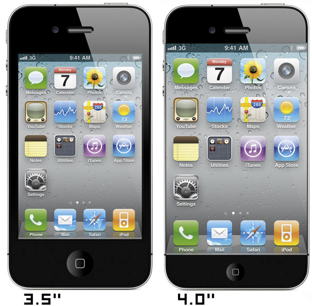iPhone 4 next to iPhone 5 size