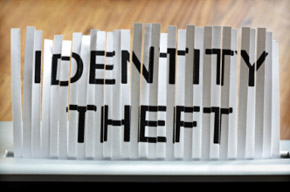 IDENTITY THEFT written on shredded fax paper