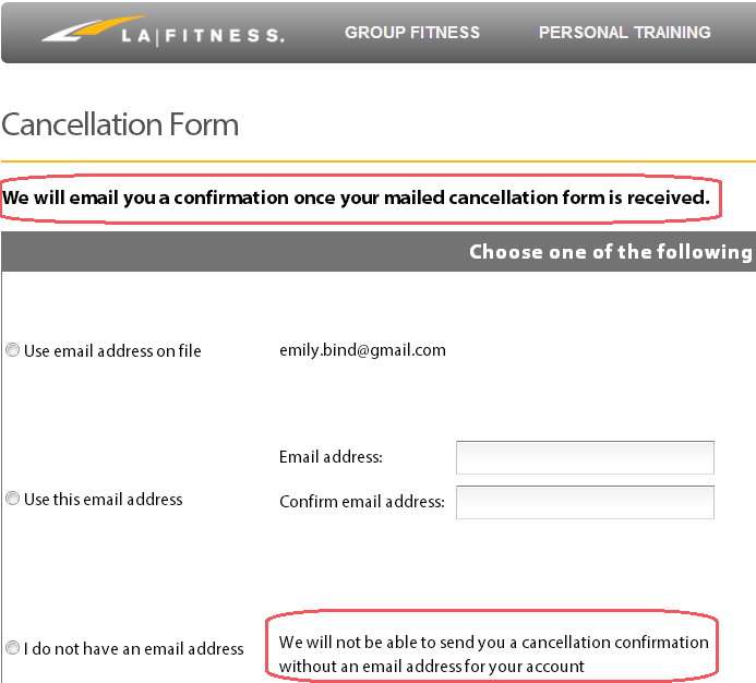 La Fitness Online Mail Cancellation Form Request Email