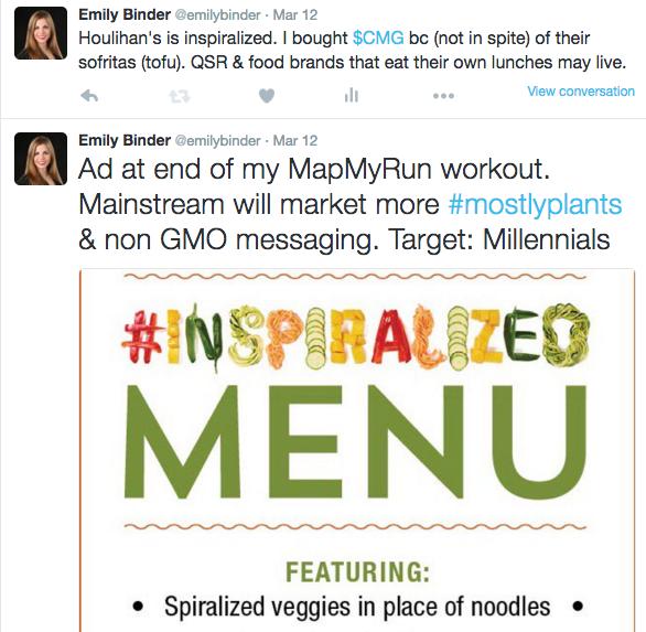 Screenshot of tweet about Houlihan's Inspiralized Menu