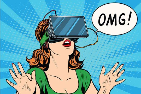 pop art woman wearing virtual reality goggles saying OMG