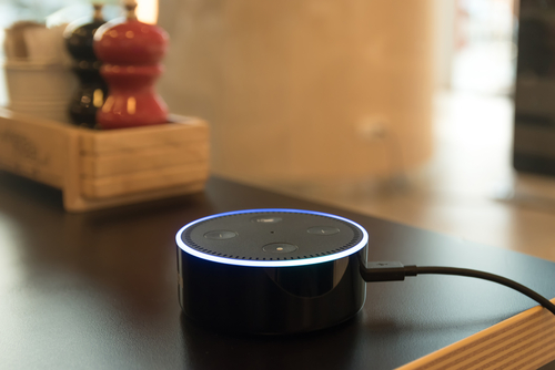 Amazon Echo Dot on kitchen counter