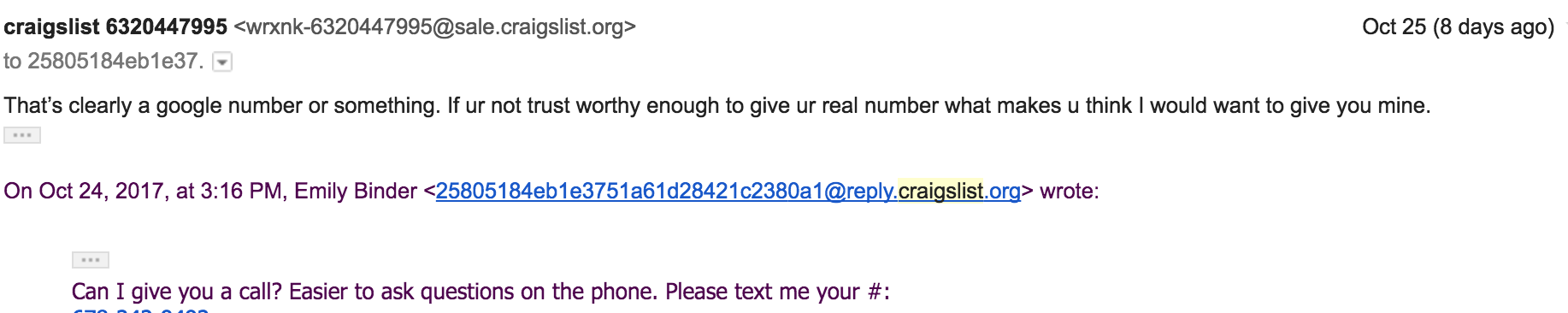 screenshot of rude Craigslist email