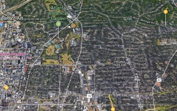 map of Atlanta Midtown