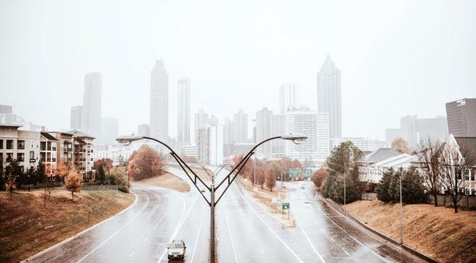 rainy day skyline from Freedom Parkway in Atlanta
